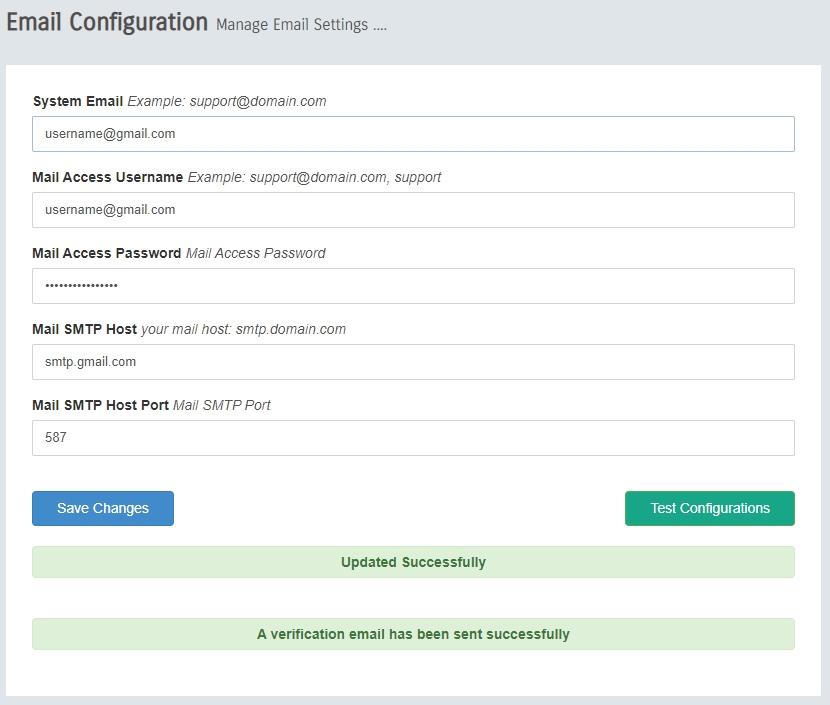 DEVOS Email Configuration
